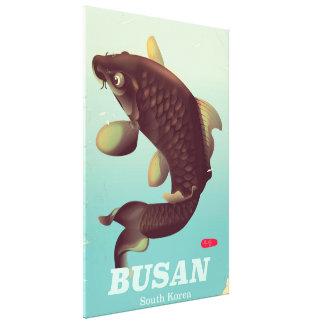 Busan South Korean vintage style travel poster Canvas Print