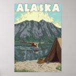 Bush Plane and Fishing Vintage Travel Poster