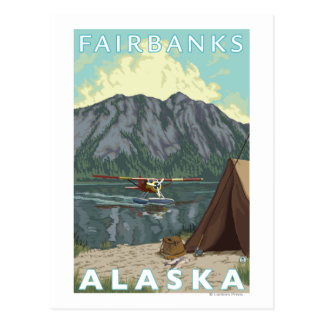 Bush Plane & Fishing - Fairbanks, Alaska Postcard