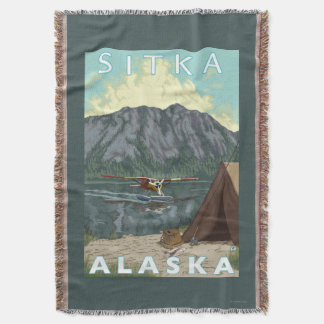 Bush Plane & Fishing - Sitka, Alaska Throw Blanket