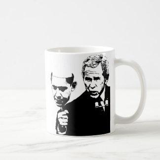 bush with obama mask coffee mug