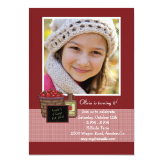 Bushel of Apples Photo Invitation