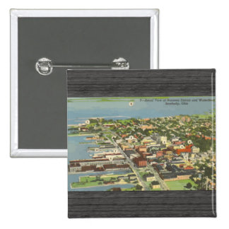 Businear District And Waterboat Sandusky, Ohio, V 2 Inch Square Button