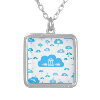 Business a cloud3 silver plated necklace