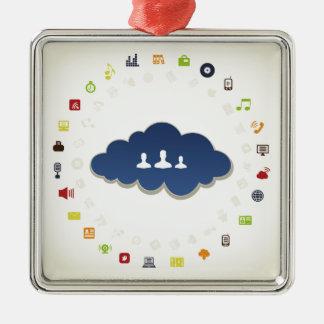 Business a cloud Silver-Colored square ornament