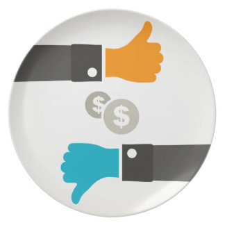 Business a hand plate