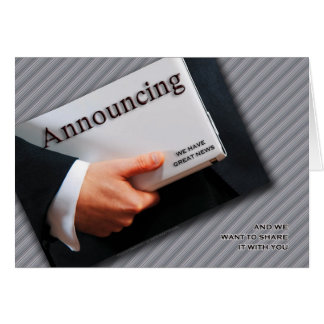 Business Announcement in Black and White
