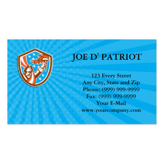 Business card American Patriot Holding Torch Flag