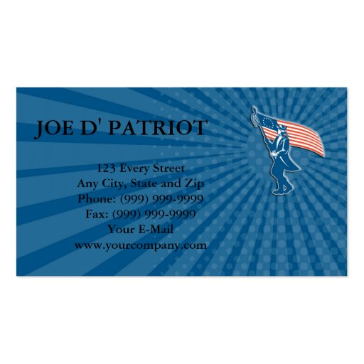 Business card American Patriot Soldier Waving USA