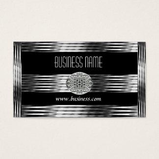 Business Card Art Deco Black Silver Chrome