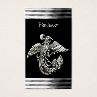 Business Card Black Silver Phoenix Bird  Jewel