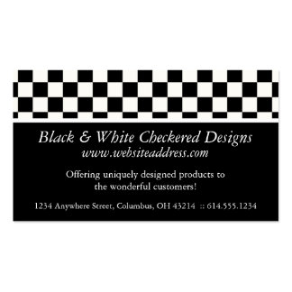 Business Card Black White Checkered Design
