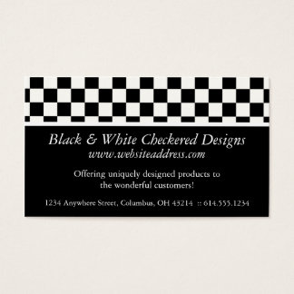 Business Card :: Black & White Checkered Design