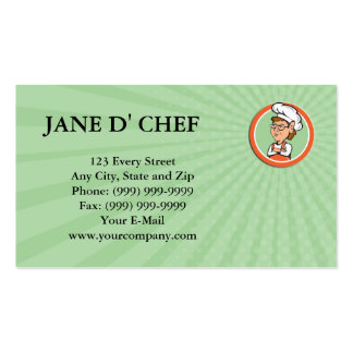 Business card Chef Cook Female Arms Folded Circle