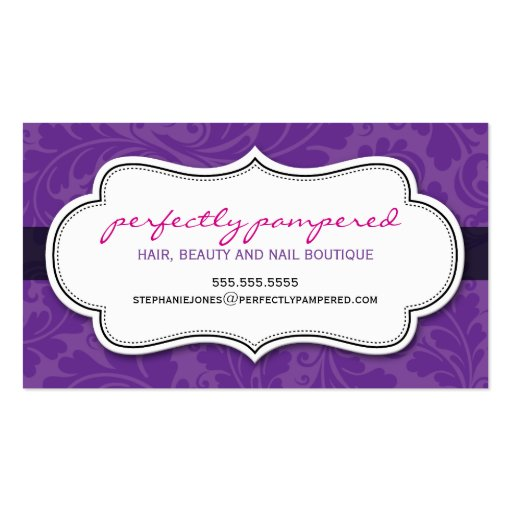BUSINESS CARD classy flourish violet purple black