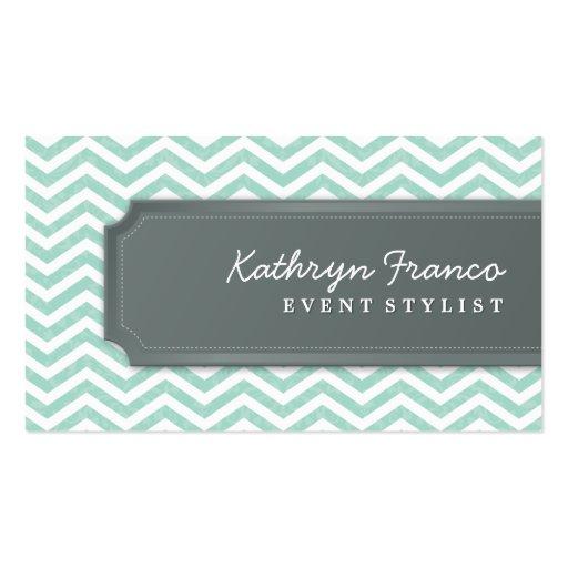 BUSINESS CARD cool chevron stripe mint green grey