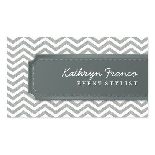 BUSINESS CARD cool chevron stripe silver grey