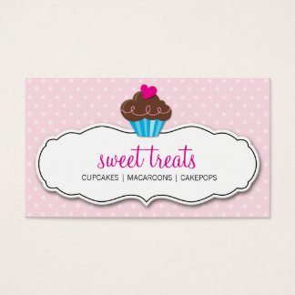 BUSINESS CARD cute bold cupcake pastel pink