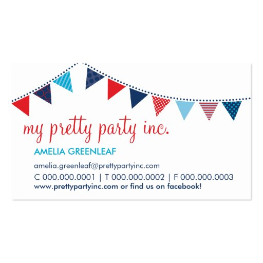 BUSINESS CARD :: cute bunting navy red aqua