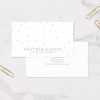 Business Card - Dots Gold White