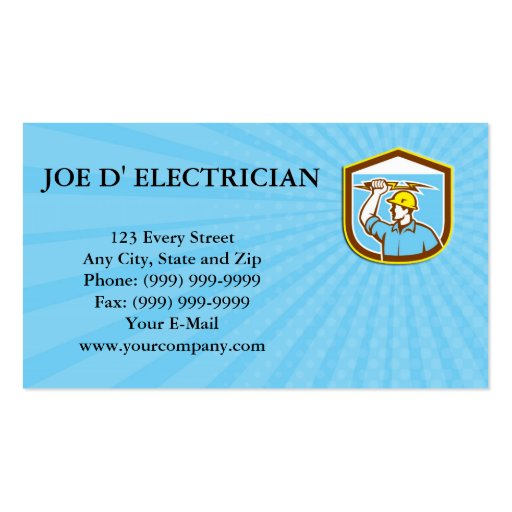 Business card Electrician Holding Lightning Bolt S