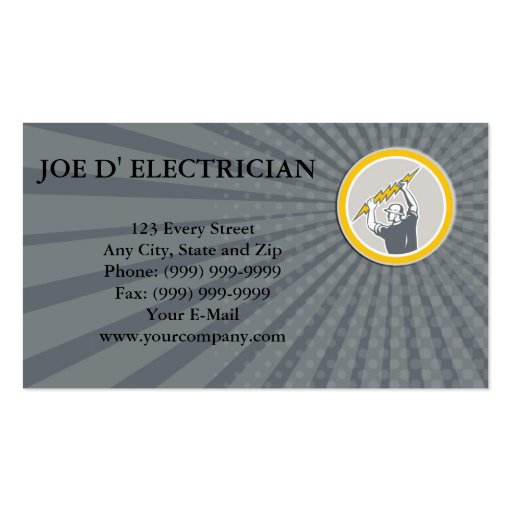 Business card Electrician Holding Lightning Bolt S Business Cards