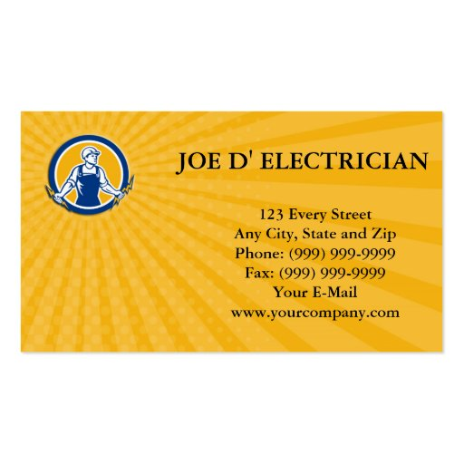 Business card Electrician Holding Two Lightning Bo Business Cards