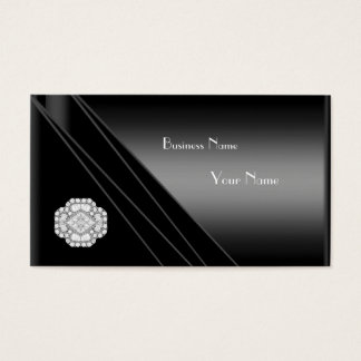 Business Card Elegant Black Diamond Jewel