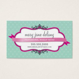 BUSINESS CARD elegant bold fuschia pink mint green
