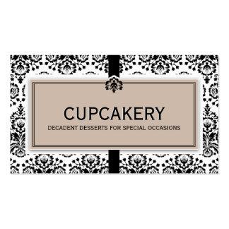 BUSINESS CARD elegant damask black latte brown