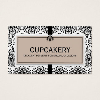 BUSINESS CARD elegant damask black latte brown