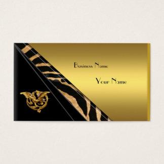 Business Card Elegant Gold Black Jewel Wild 2