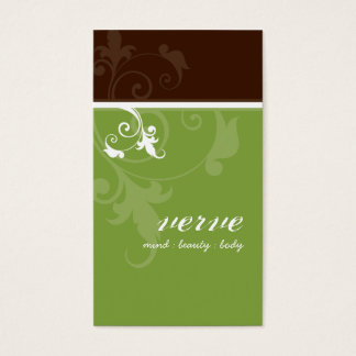 BUSINESS CARD elegant verve foliage green brown