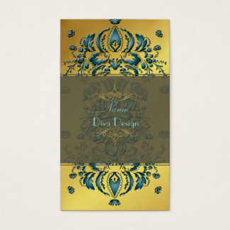 Business Card Floral Damask Teal gold