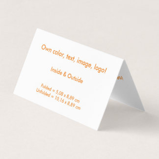 Business Card Folded Tent H uni White - own Color
