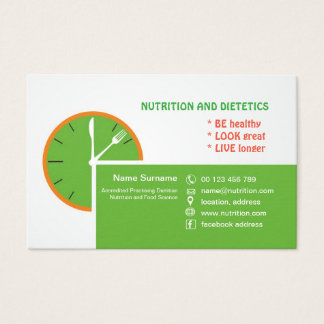 business card for Practicing Dietitian