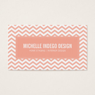 BUSINESS CARD fresh chevron pattern pale coral