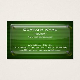 Business Card Glass Framework on Green Background