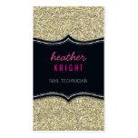BUSINESS CARD glitzy glitter black pale gold pink