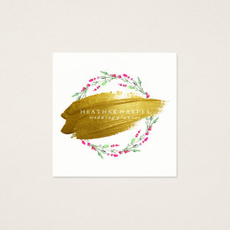 Business Card - Gold Brushstroke Wreath