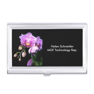 BUSINESS CARD HOLDER, FLORAL ON BLACK, CUSTOMIZE BUSINESS CARD CASES
