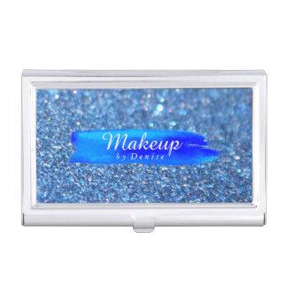 Business Card Holder - Makeup Glitter Blue