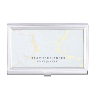 Business Card Holder - Marble Blue