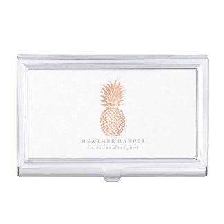 Business Card Holder - Rose Gold Pineapple