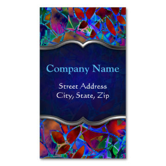 Business Card Magnet Floral Abstract Stained Glass