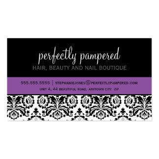 BUSINESS CARD modern damask black violet purple