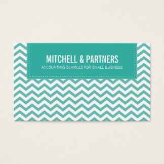 BUSINESS CARD modern fresh chevron jade green