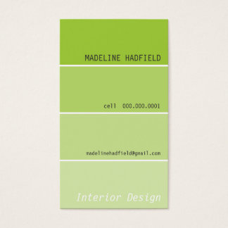 BUSINESS CARD paint chip swatch lime green