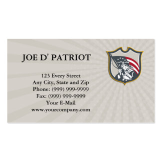 Business card Patriot Holding American Flag Shield