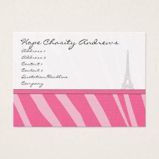 Business Card Pink Zebra Damask Eiffel Tower